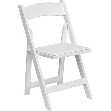 Flash Furniture Hercules Series Wood Folding Chair - Padded Vinyl Seat, White, 4/Pack
