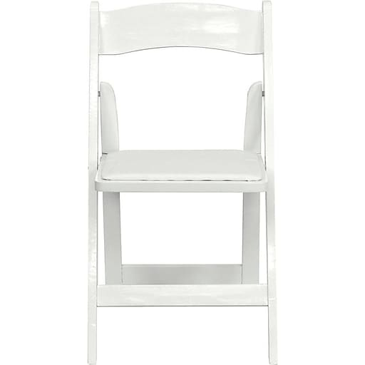 Flash Furniture HERCULES Series Wood Folding Chair - Padded Vinyl Seat, White, 52/Pack