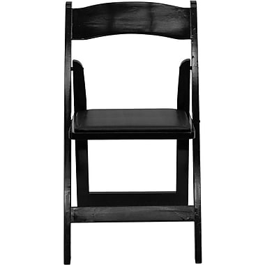 Flash Furniture Hercules Series Wood Folding Chair - Padded Vinyl Seat, Black