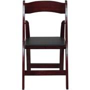 Flash Furniture HERCULES Series Wood Folding Chair - Padded Vinyl Seat, Mahogany, 24/Pack