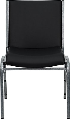 Flash Furniture HERCULES Series Heavy Duty, 3'' Thickly Padded, Upholstered Stack Chair, Black Vinyl