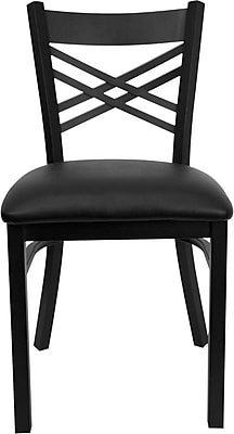 """""Flash Furniture HERCULES Series Black """"""""X"""""""" Back Metal Restaurant Chair, Black Vinyl Seat, 24/Pack"""""" 201521"