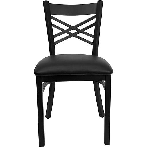 "Flash Furniture HERCULES Series Black ""X"" Back Metal Restaurant Chair, Black Vinyl Seat, 24/Pack"