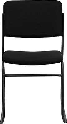 Flash Furniture HERCULES Series 1500 lb. Capacity High Density Fabric Stacking Chair with Sled Base, Black