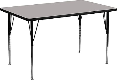 Flash Furniture 24''W x 48''L Rectangle Activity Table with 1.25'' High Pressure Top and Standard Height Adjustable Legs, Grey