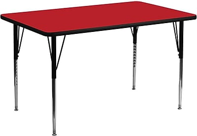 Flash Furniture 24''W x 48''L Rectangle Activity Table with 1.25'' High Pressure Top and Standard Height Adjustable Legs, Red