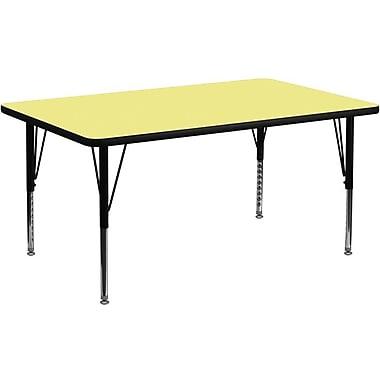 Flash Furniture – Table d'activités rectangulaire ( 24 x 48 po), surface thermofusionnée, pattes préscolaires réglables, jaune