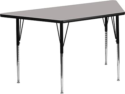 Flash Furniture 24''W x 48''L Trapezoid Activity Table with 1.25'' High Pressure Top and Standard Height Adjustable Legs, Grey
