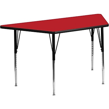 Flash Furniture 24''W x 48''L Trapezoid Activity Table with 1.25'' High Pressure Top and Standard Height Adjustable Legs, Red