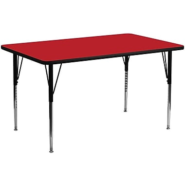Flash Furniture 24''W x 60''L Rectangle Activity Table with 1.25'' High Pressure Top and Standard Height Adjustable Legs, Red