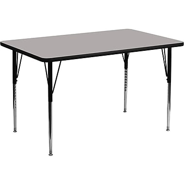 Flash Furniture 30''W x 60''L Rectangle Activity Table with 1.25'' High Pressure Top and Standard Height Adjustable Legs, Grey