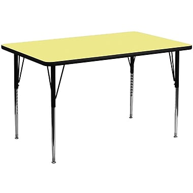 Flash Furniture 30''W x 60''L Rectangle Activity Table with Thermal Fused Top and Standard Height Adjustable Legs, Yellow