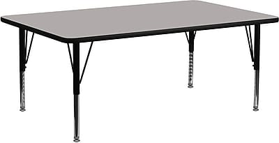 Flash Furniture 30''W x 72''L Rectangle Activity Table with 1.25'' High Pressure Top and Height Adjustable Pre-School Legs, Grey