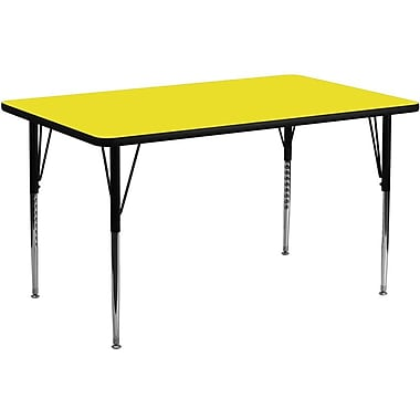 Flash Furniture 30''W x 72''L Rectangle Activity Table with 1.25'' High Pressure Top and Standard Height Adjustable Legs, Yellow