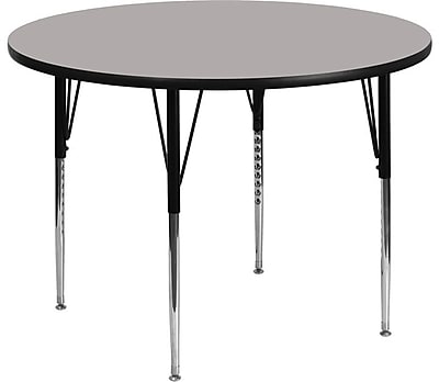 Flash Furniture 48'' Round Activity Table with 1.25'' Thick High Pressure Laminate Top and Standard Height Adjustable Legs, Grey