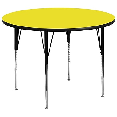 Flash Furniture 48'' Round Activity Table with 1.25'' High Pressure Top and Standard Height Adjustable Legs, Yellow