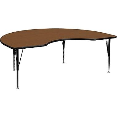 Flash Furniture – Table d'activités haricot, 48 x 72 po, stratifié haute pression 1,25 po, pattes préscolaires réglables, chêne