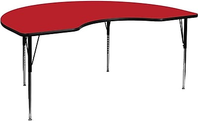 Flash Furniture 48''W x 72''L Kidney Activity Table with 1.25'' High Pressure Top and Standard Height Adjustable Legs, Red
