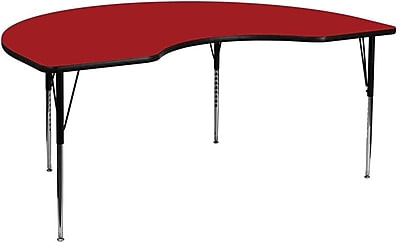 Flash Furniture 48''W x 72''L Kidney Activity Table with Thermal Fused Top and Standard Height Adjustable Legs, Red