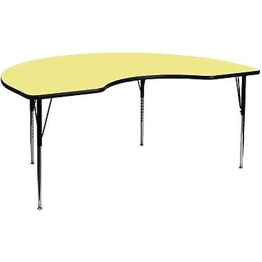 Flash Furniture 48''W x 72''L Kidney Activity Table with Thermal Fused Top and Standard Height Adjustable Legs, Yellow
