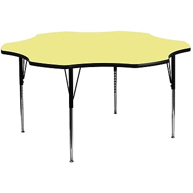 Flash Furniture 60'' Flower Shaped Activity Table with Thermal Fused Laminate Top and Standard Height Adjustable Legs, Yellow