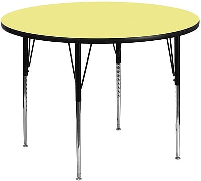 Flash Furniture 60'' Round Activity Table with Thermal Fused Laminate Top and Standard Height Adjustable Legs, Yellow