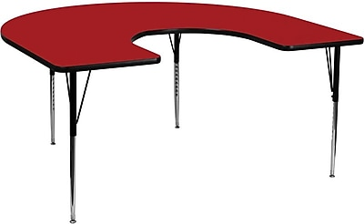 Flash Furniture 60''W x 66''L Horseshoe Activity Table with Thermal Fused Laminate Top and Standard Height Adjustable Legs, Red