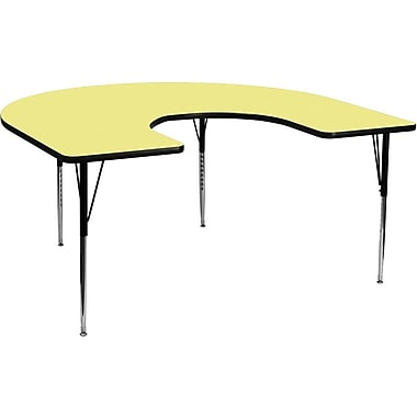 Flash Furniture 60''W x 66''L Horseshoe Activity Table with Thermal Fused Top and Standard Height Adjustable Legs, Yellow