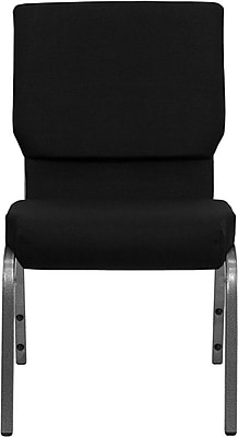 Flash Furniture HERCULES Series 18.5'' Wide Stacking Church Chair with 4.25'' Thick Seat - Silver Vein Frame, Black