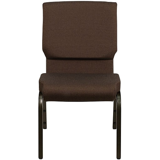 Flash Furniture HERCULES Series 18.5'' Wide Stacking Church Chair with 4.25'' Thick Seat - Gold Vein Frame, Brown, 40/Pack