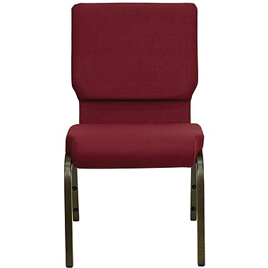 Flash Furniture Hercules Series 18.5'' Wide Stacking Church Chair with 4.25'' Thick Seat - Gold Vein Frame, Burgundy, 40/Pack