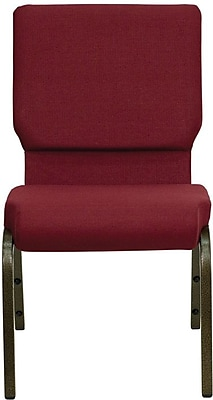 Flash Furniture HERCULES Series 18.5'' Wide Stacking Church Chair with 4.25'' Thick Seat - Gold Vein Frame, Burgundy