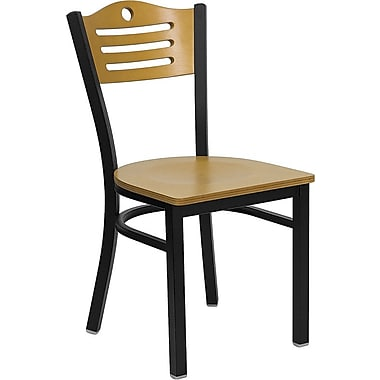 Flash Furniture Hercules Series Black Slat Back Metal Restaurant Chair, Natural Wood Back & Seat, 4/Pack