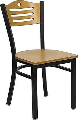 Flash Furniture HERCULES Series Black Slat Back Metal Restaurant Chair, Natural Wood Back & Seat, 4/Pack