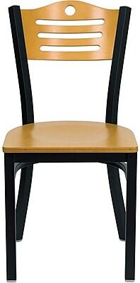 Flash Furniture HERCULES Series Black Slat Back Metal Restaurant Chair, Natural Wood Back & Seat, 24/Pack 201614