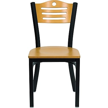 Flash Furniture Hercules Series Black Slat Back Metal Restaurant Chair, Natural Wood Back & Seat, 24/Pack