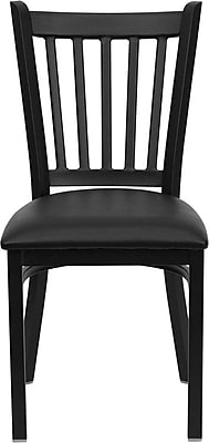 Flash Furniture HERCULES™ Vinyl Vertical Back Metal Restaurant Chair, Black, 24/Pack
