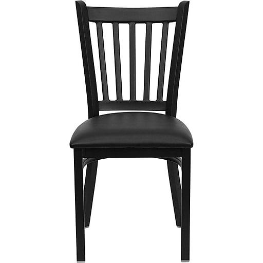 Flash Furniture HERCULES™ Vinyl Vertical Back Metal Restaurant Chair, Black, 24/Pack