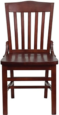 Flash Furniture HERCULES Series School House Back Wooden Restaurant Chair, Mahogany, 14/Pack