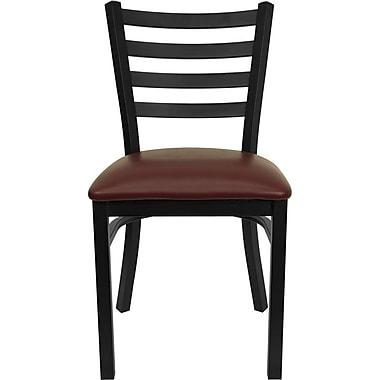 Flash Furniture Hercules Series Black Ladder Back Metal Restaurant Chair, Burgundy Vinyl Seat