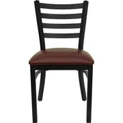 Flash Furniture HERCULES Series Black Ladder Back Metal Restaurant Chair, Burgundy Vinyl Seat, 24/Pack