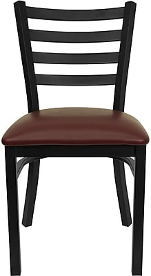 Flash Furniture HERCULES Series Black Ladder Back Metal Restaurant Chair, Burgundy Vinyl Seat, 24/Pack