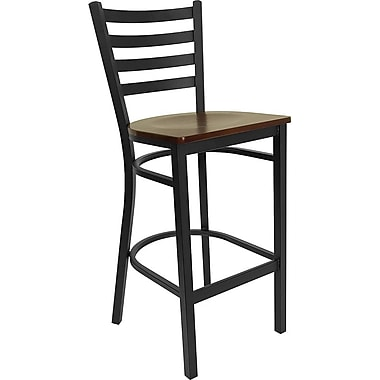 Flash Furniture Hercules Series Black Ladder Back Metal Restaurant Bar Stool, Mahogany Wood Seat