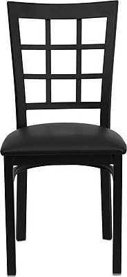 Flash Furniture HERCULES™ Vinyl Window Back Metal Restaurant Chair, Black, 16/Pack