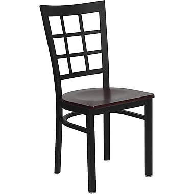 Flash Furniture HERCULES Series Black Window Back Metal Restaurant Chair, Mahogany Wood Seat, 4/Pack