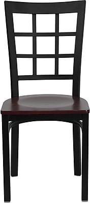 Flash Furniture HERCULES Series Black Window Back Metal Restaurant Chair, Mahogany Wood Seat, 16/Pack 201623