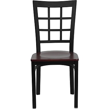 Flash Furniture Hercules Series Black Window Back Metal Restaurant Chair, Mahogany Wood Seat, 16/Pack