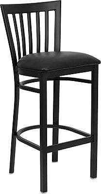 Flash Furniture HERCULES Series Black School House Back Metal Restaurant Bar Stool, Black Vinyl Seat 201626