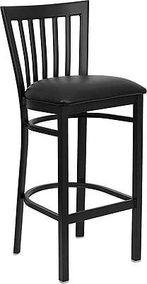 Flash Furniture HERCULES Series Black School House Back Metal Restaurant Bar Stool, Black Vinyl Seat 201626