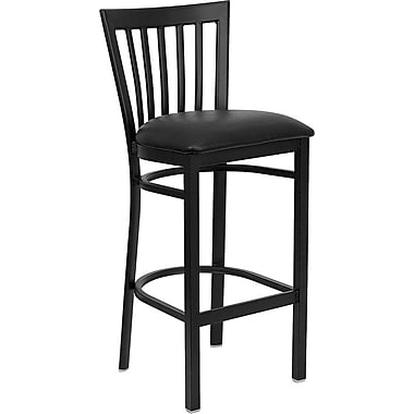 Flash Furniture Hercules Series Black School House Back Metal Restaurant Bar Stool, Black Vinyl Seat